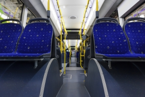 Inside of a shuttle bus