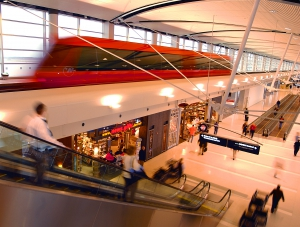 ExpressTram approaching Northwest part of McNamara Terminal